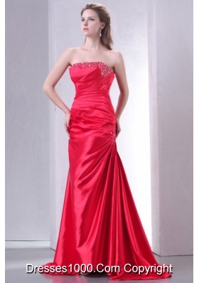 Strapless Coral Red Sweep Train Beaded Prom Gowns with Train