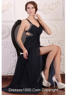 Straps Empire Chiffon Beading Sweep Train Prom Formal Dress in Black