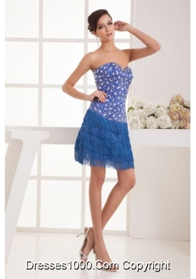 Fashionable Blue Beading and Tassels Dance Dress