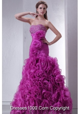 Sweetheart Beading and Rolling Flowers Mermaid Fuchsia Prom Gowns