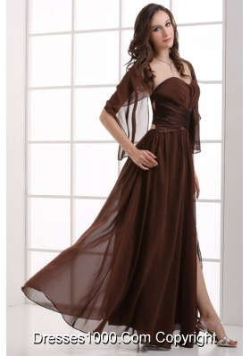 Chocolate Sweetheart Chiffon Prom Dress with Slit and Open Back