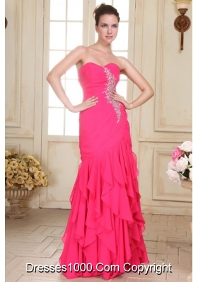Sweetheart Floor-length Beaded Decorate Hot Pink Prom Pageant Dress
