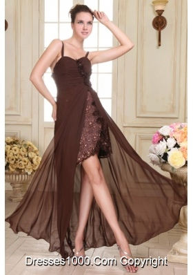 Sweet Hand Made Flowers Chiffon Prom Dress with Detachable Straps