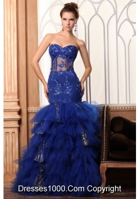 Sweetheart Mermaid Appliques and Layers Dresses for Prom Princess