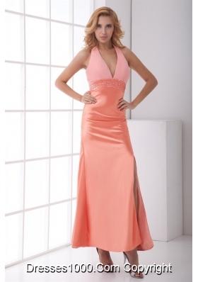 Halter Top Column Backless Prom Dress with V Neck and Slit