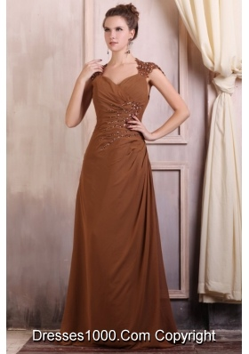 V-neck Column Chiffon Appliques Prom Evening Dress with Beading