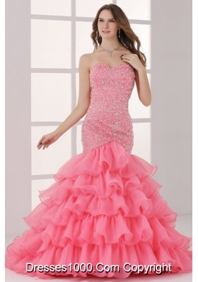 2014 Pink Sweetheart Mermaid Beading and Ruffled Layers Prom Dress