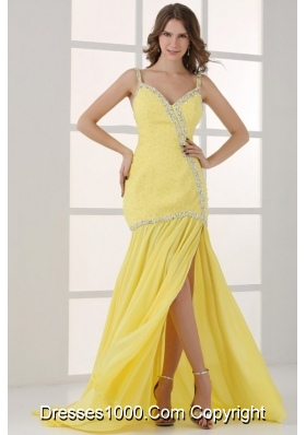 Yellow Straps Column Beading and High Silt Prom Dress with Sweep Train