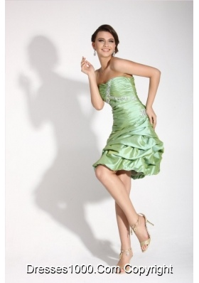 Apple Green Sweetheart Short Prom Dress with Ruches and Pick Ups