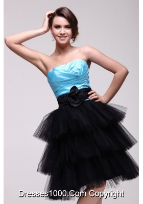 Blue and Black Strapless Senior Prom Dress with Ruches and Layers