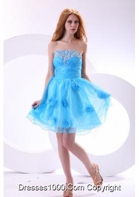 Aqua Blue Strapless Beading and Flowers Decorate Senior Prom Dress