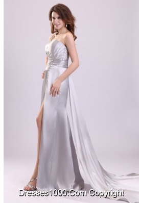Watteau Train Silver Evening Dress with Ruches and Slit