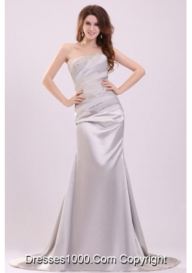 Column Beading and Ruching Prom Dress with Brush Train