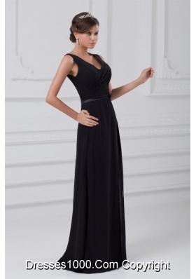 Sexy V Neck Black Prom Mother Dress with Zipper Up Back