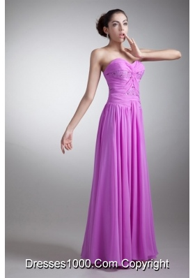 Bright Lilac Floor Length Sweetheart Prom Dress with Beading