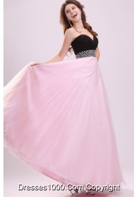 Black and Baby Pink Sweetheart Prom Dress with Beading and Ruches