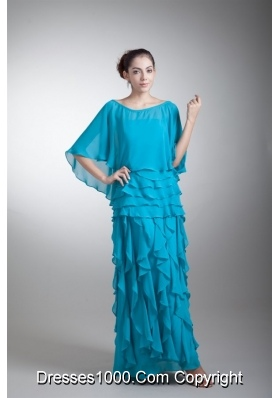 Blue Scoop Prom Mother Dress with Shawl and Layered Ruffles
