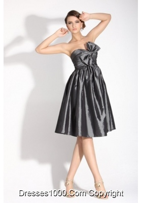 Classy Grey Empire Bridesmaid Dress with Bowknot and Ruches