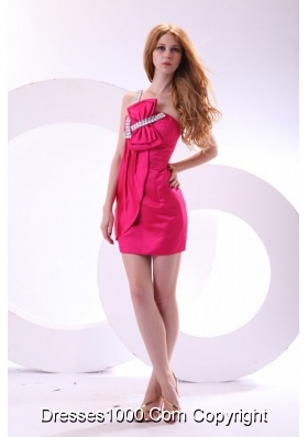 Hot Pink One Shoulder Prom Dress with Beading and Bowknot