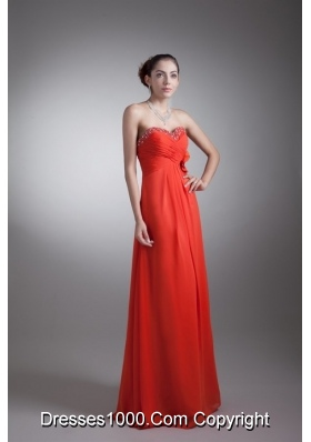 Bright Red Sweetheart Chiffon Prom Dress with Beading and Flower