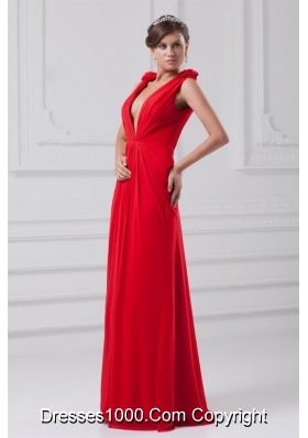 Sexy Red Deep V Neck Chiffon Prom Evening Dress with Straps