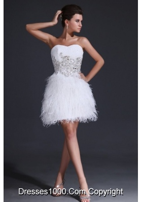 White Sweetheart Short Prom Dress with Beading and Feathers