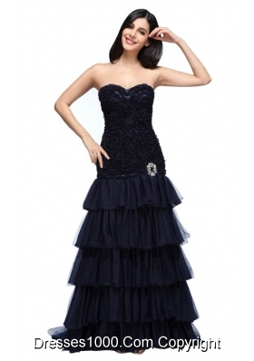 Beautiful Navy Blue Sweetheart Prom Dress with Beading and Layers