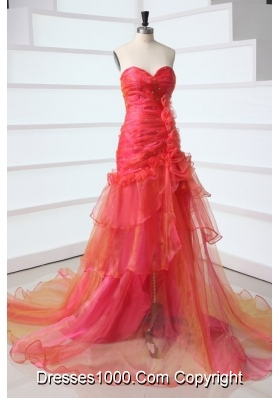 Lovely A Line Sweetheart Prom Dress with Layers and Flowers