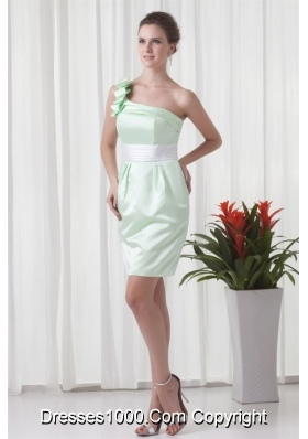 Apple Green One Shoulder Short Prom Mother Dress with Sash