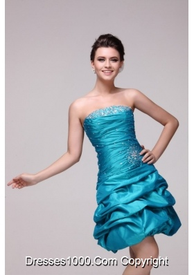 Pretty Blue Strapless Short Beading Taffeta Prom Dress