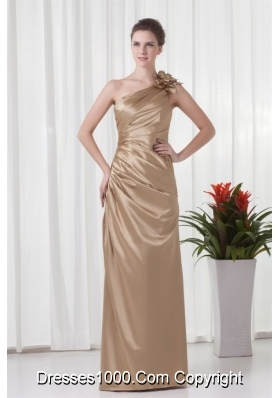 Champagne One Shoulder Prom Dress with Taffeta Hand Made Flowers