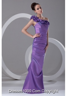 Purple Flowers Decorate One Shoulder Prom Dress with Ruches