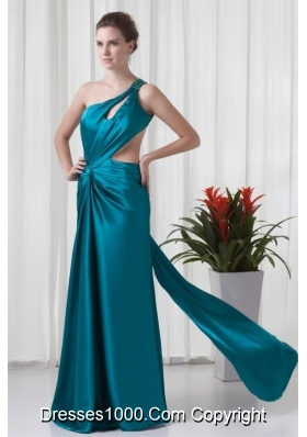 Teal One Shoulder Elastic Woven Satin Prom Dress with Cross Cross