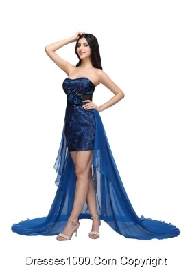 Noble Strapless High Low Prom Dress with Brush Train