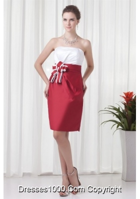 White and Wine Red Short Prom Mother Dress with Flower