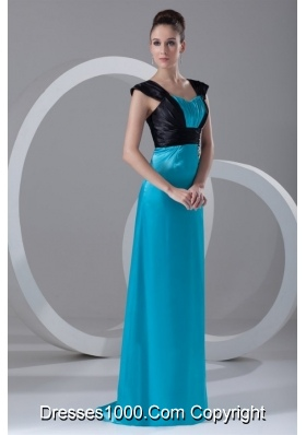Black and Blue Elastic Woven Satin Prom Dress with Cap Sleeves