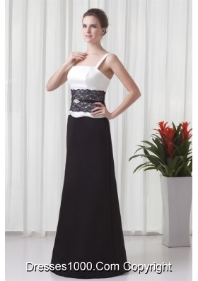 Formal White and Black Prom Mother Dress with Lace and Straps