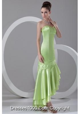 Spring Green Sweetheart Asymmetrical Prom Dance Dress
