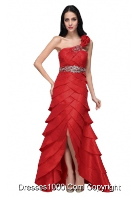 Wine Red Strapless Beading Ruffled Layers Prom Dress with Flower