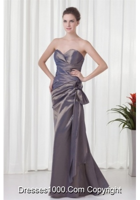 Formal Sweetheart Grey Prom Dress with Ruches and Flowers