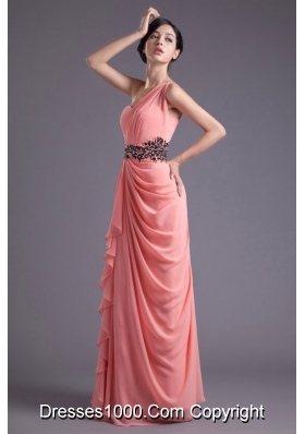 Modest One Shoulder Ruffled Prom Dress with Beading Waist