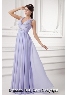 Elegant Lavender Beading Prom Dress with Ruches and Beading
