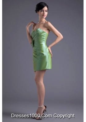 Lime Green Mini Length Sweetheart Prom Dress with Ruches