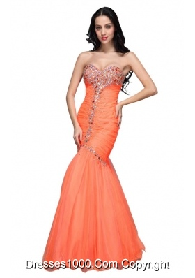 Mermaid Sweetheart Orange Prom Dress with Beading and Ruching