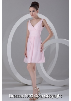Baby Pink V Neck Short Prom Bridesmaid Dress with Zipper Back