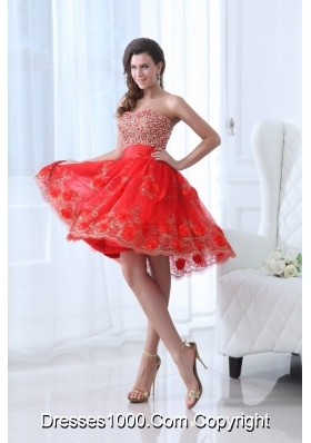 Red Sweetheart Prom Dress with Beading and Hand Made Flowers