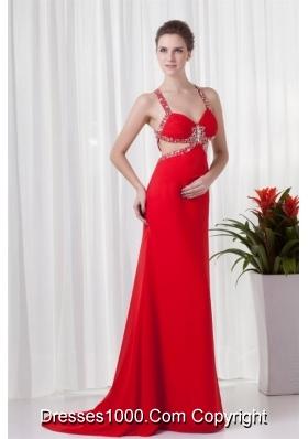 Red Column Straps Brush Train Prom Dress with Cross Cross