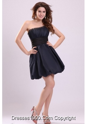 Black One Shoulder Simple Prom Bridesmaid Dress with Ruffles