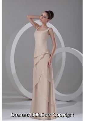 Champagne Square Chiffon Ruffles Prom Dress with Side Zipper