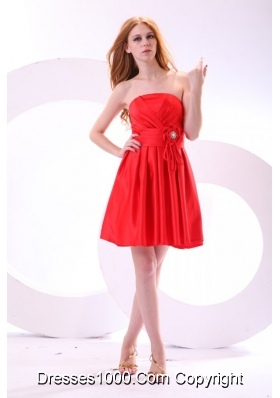 Simple Strapless Mini-length Red Prom Dress with Ruching